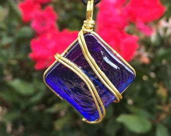 wire wrapped pendant / dark blue glass square / gold wire / unique / gift for her / boho / birthday / adjustable necklace / unisex jewelry