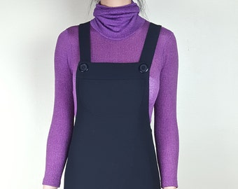 S Vintage Turtleneck Bodysuit Purple Fuchsia Stretch Sheer See Through Ribbed Textured Long Sleeve American Apparel Style Leotard Bright