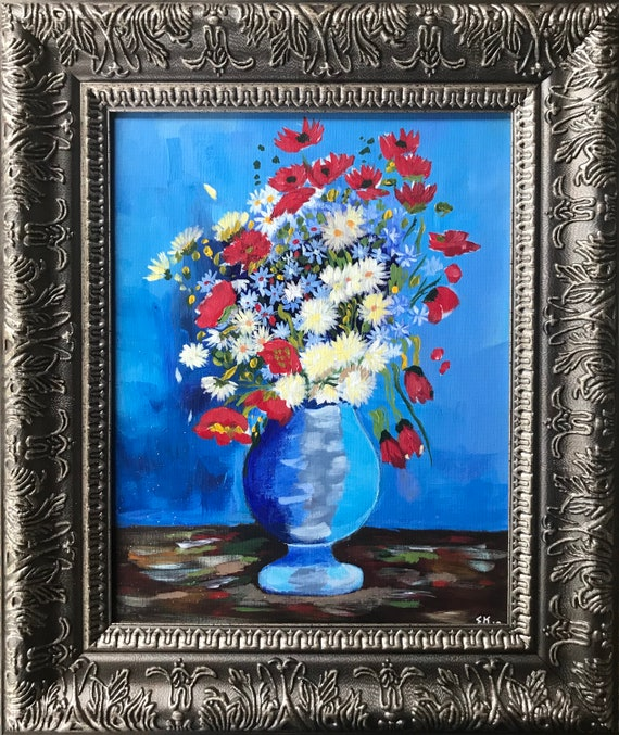 Van Goghs Vase Of Flowers Reproduction 11x14 Flowers Etsy