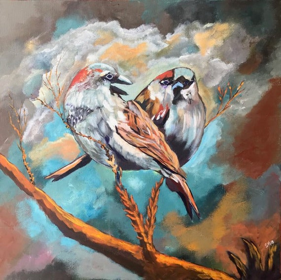Love Birds Art Wall Decor Gallery Wrapped Canvas 20x20 Etsy
