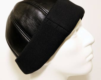 755c5b5f Leather Hat, Leather Cap, Winter Hat, Black Leather Beanie with Stretch  Textile, Shearling Leather Hat, Gift for Man