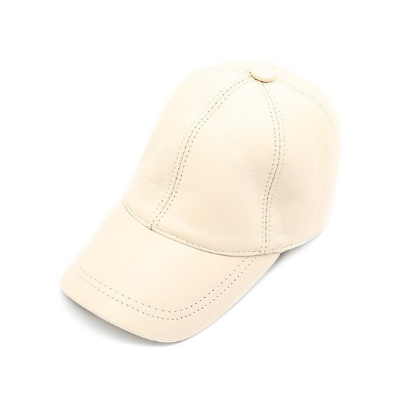 White Leather Hat Genuine Leather Cap Baseball Cap Ball  e726a00fbbbf