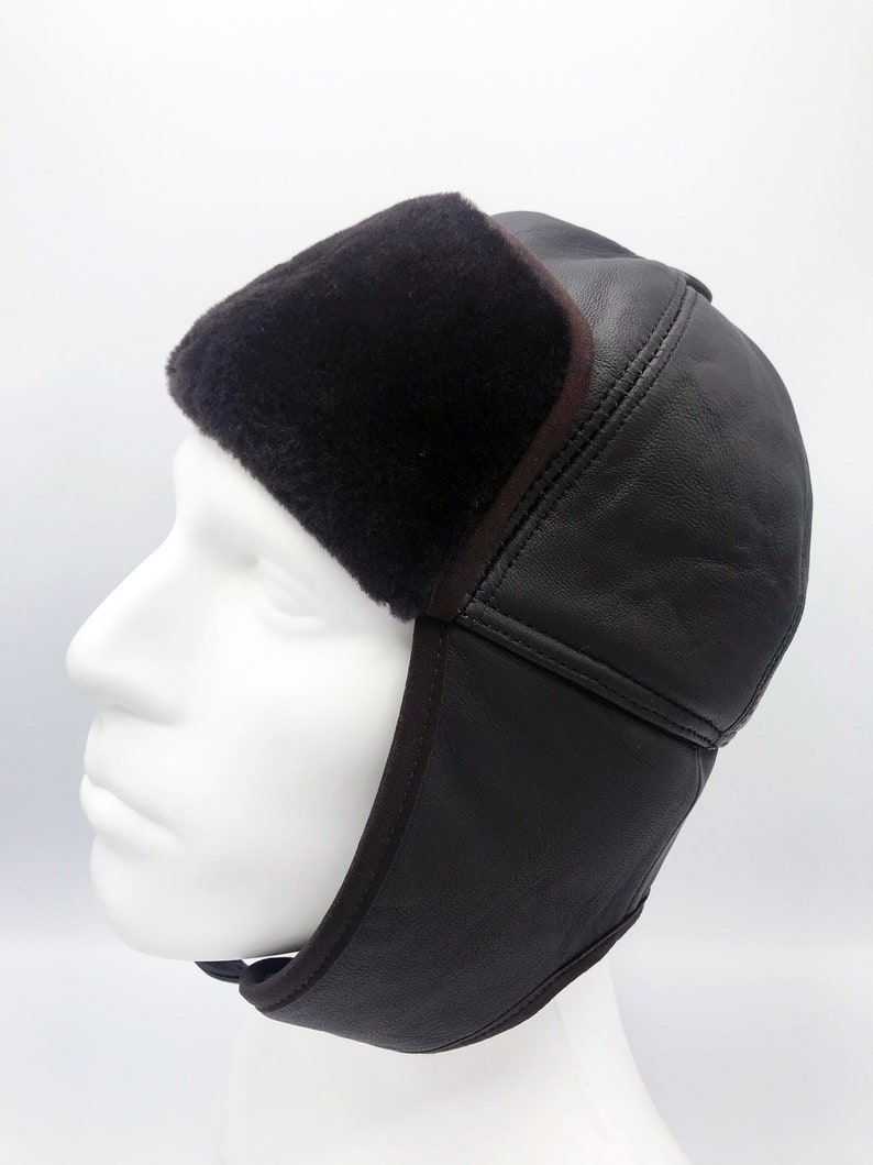 41740af3fd3 Aviator Hat Pilot Leather Cap Brown Leather Hat Leather