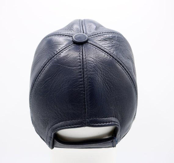 81c11e2c27f Dark Blue Leather Hat Genuine Leather Cap Baseball Cap Ball