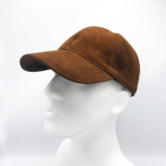 Tan Suede Leather Hat Genuine Leather Cap Baseball Cap Ball  e4015913a336