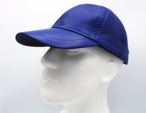 Blue Leather Hat Genuine Leather Cap Baseball Cap Ball Cap  6a9a0957995a
