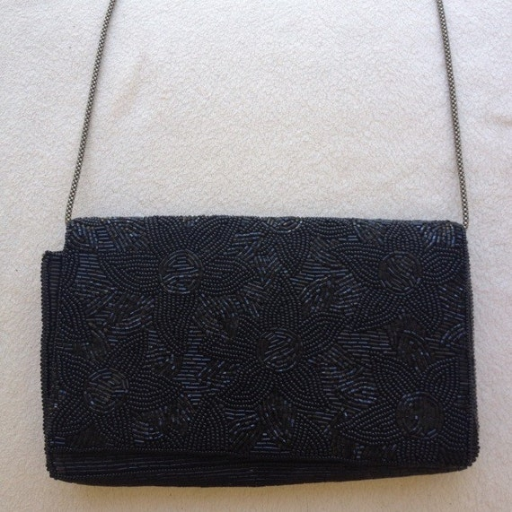 Vintage Black Beaded Opera Bag