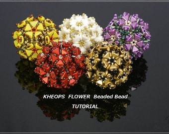Kheops Flower Beaded Bead - PDF beading TUTORIAL for personal use only