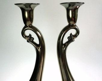 Haeger Potteries 427 Antique Gold Candle Stick Holder Pair Art Pottery Ceramic