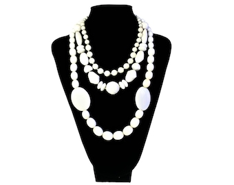 Mid Century Necklace Lot of 3 Costume Jewelry White Glass and Plastic Beads