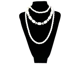 Mid Century Necklaces Lot of 2 Costume Fashion Jewelry White Plastic Beads