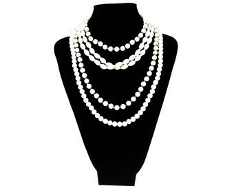 Mid Century Necklaces Lot of 3 Costume Fashion Jewelry White Glass Beads