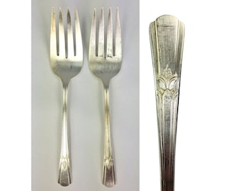 2 Wm Rogers Silverplate Sovereign Cold Meat Serving Fork 1939