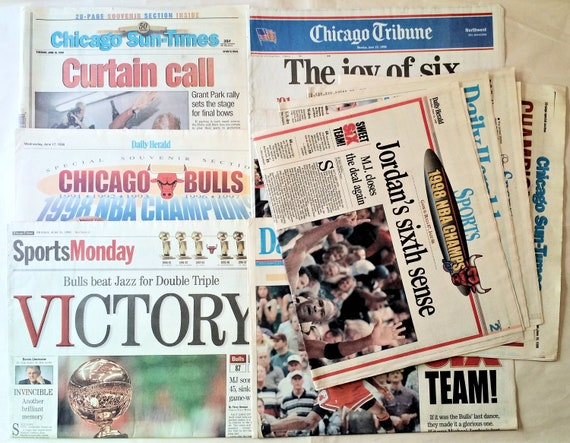 adatto a uomini/donne Scoprire stili freschi Chicago Bulls NBA Basketball Championship 6 Utah Jazz 1998 Jordan Newspaper  Lot