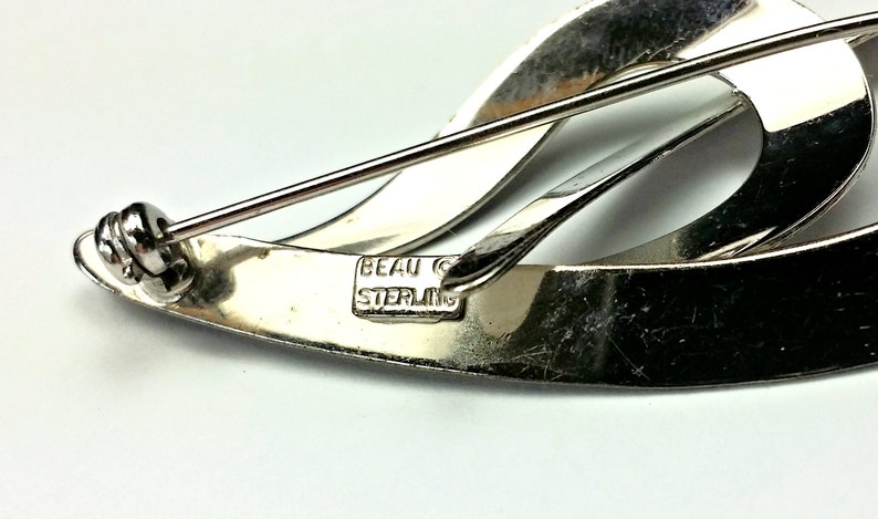 Beau Brooch Sterling Silver Abstract Double Teardrop Pin Ladys Jewelry Marked