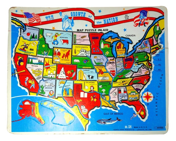 Warren Paper United States Map Growth of the Nation Tray Puzzle Jigsaw
