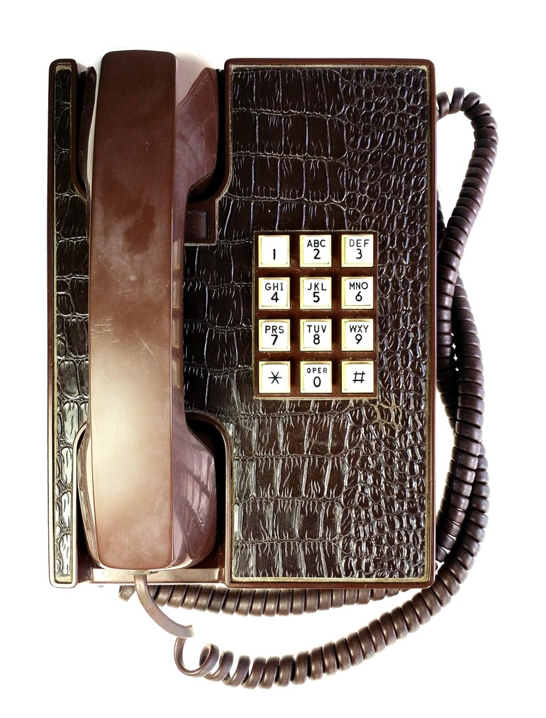 Western Electric Faux Alligator Snake Skin Touch Tone Desk Phone Tested Works
