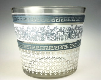 Jeannette Glass Patrician Blue Greek Key Ice Bucket Vintage Barware