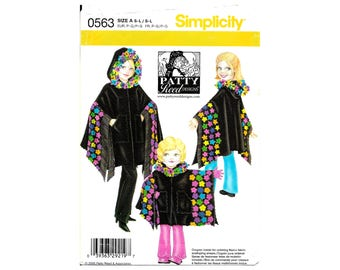 Simplicity 0563 Misses Sm-Lg Girl Sm-Lg Ponchos Patty Reed Designs Fleece