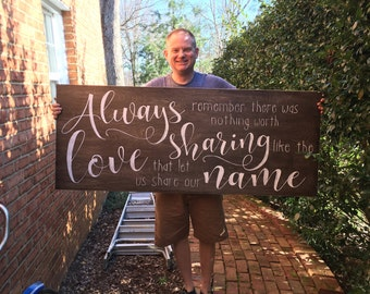 LARGE, Always remember there was nothing worth sharing, love quote, avett brothers lyric, song lyric, wedding sign, photo prop, anniversary