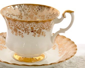 Royal Albert China 1960's Tea Cup, Teacup and Saucer, Fancy Tea Cup Set, Gold, Gift for Bride