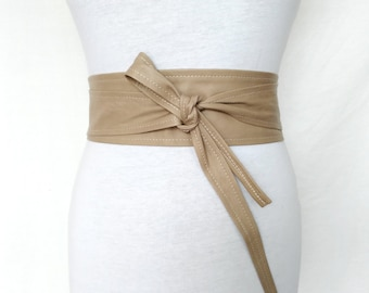 21142895ac6 Leather Obi belt Taupe Cream Waist cincher wrap Statement accessory