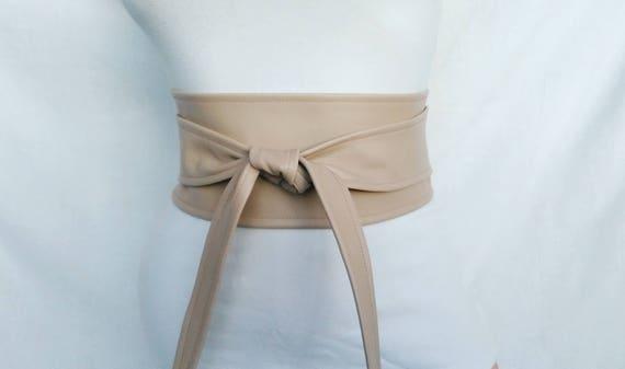Ceinture obi Ceinture femme en cuir Nude beige ceinture large mariage crème  serre-taille 4