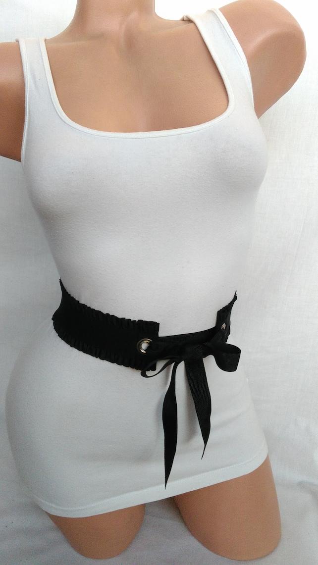 e5da9229905 Black belt Statement waist cincher Elastic Stretch belt simple