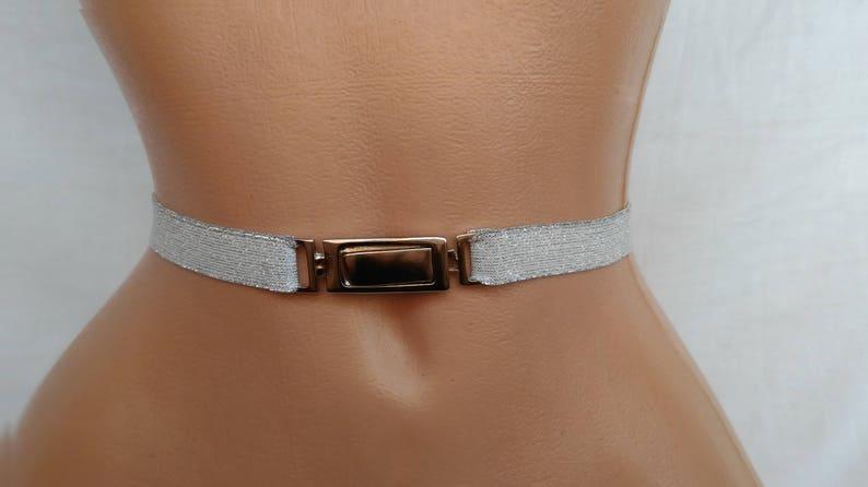 c4f67ddbab7 Black or Silver Stretch belt womens belt Skinny elastic waist