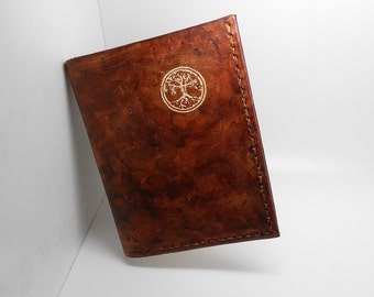 wallet handmade Brown Handmade Leather tree of life - new format that drivers license