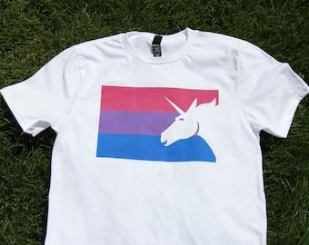 Bisexual Pride Flag T-Shirt Retro Colors - lgBt Pride Awareness Tshirt - Bi Pride Pink Purple Blue Tee BiPride