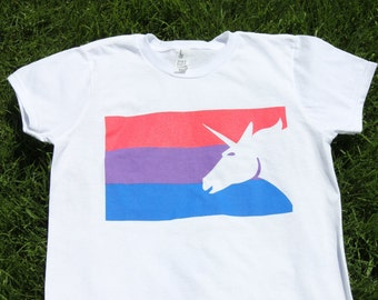 Bisexual Pride Flag T-Shirt - Men Women Gay Pride Awareness Tshirt - Bi Flag Tee Pink Purple Blue - BiPride BiVisibility