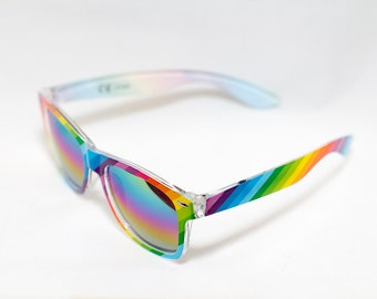 Double Rainbow Sunglasses - Pride Festival Glasses - Rainbow Lens Sunglass - LGBTQIA