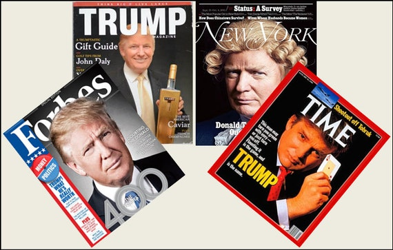 4 Miniature DONALD TRUMP   MAGAZINES Dollhouse 1:12 scale OPENING PAGES