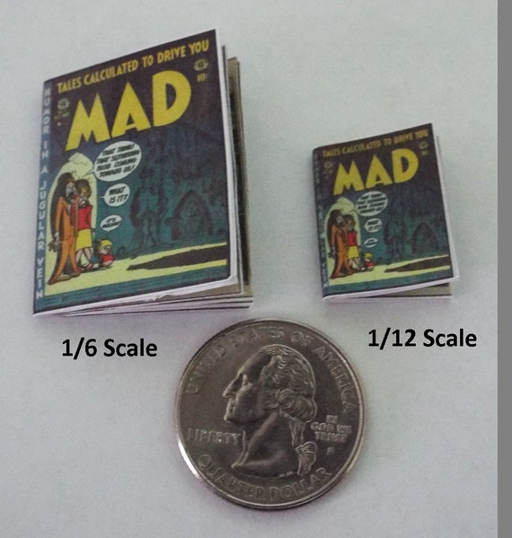 Mini vintage style  /'MAD/' Comic Dollshouse 1:12 scale OPENING printed PAGES