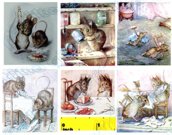 Miniature  Beatrix Potter Mr Tod the Fox  Prints Dollhouse 1:12 scale