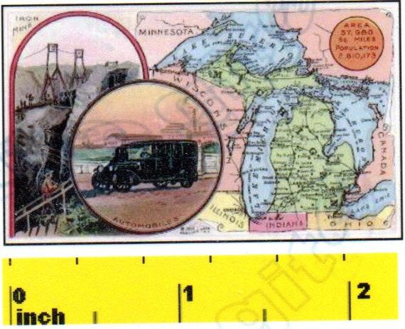 DOLLSHOUSE Vintage Miniature State of Texas  1888 MAP  Print CDHM