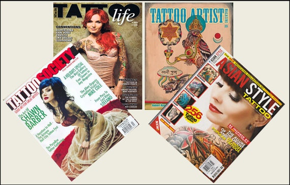 """Dollhouse Miniature 1/"""" 1//12 Scale Tattoo Magazines set of 3 Issues"""