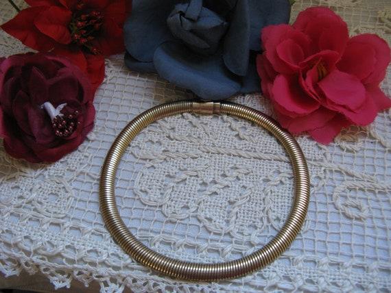 12K Gold Filled Snake Choker 1950s  ~~  Vintage Sn