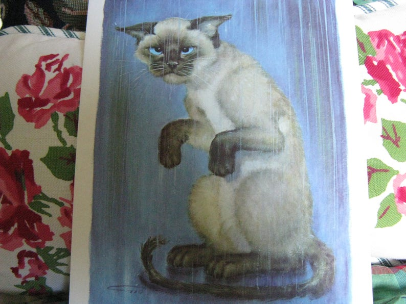 Set of Two Cat Greeting CardsNotecards ~~ Unused Vintage 60/'s Notecards ~~  Kitten Art Notecards ~~ Two Collectible Greeting Cards