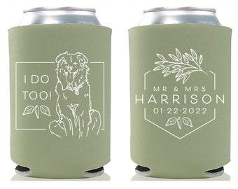 Wedding Can Cooler #188R - Custom Pet Illustration - Mr and Mrs - Wedding Favors, Beverage Holder, Wedding Favor, Can Holder, Can Insulator