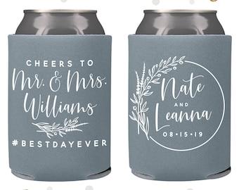 Cheers to The Mr and Mrs - Wedding Can Cooler #140R - Custom - Wedding Favors, Beverage Insulators, Beer Huggers, Wedding Favor, Beer Holder