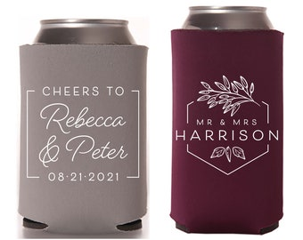 Wedding Regular & Slim Can Cooler Package #174RS - Cheers to The Mr and Mrs - Custom - Wedding Favor Package, Wedding Favor, Beer Can Holder