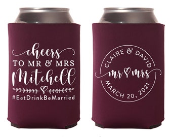 Engagement Party Favors C222 Wedding Can Coolers Favors for Wedding Custom Wedding Favors Personalized Wedding Favors