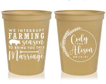 Foam Cups Foam Cups Rustic Wedding Cups Personalized Favor Country Wedding Cups Barn Wedding Farm Wedding Fall Wedding 1766 Wedding