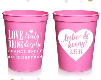 Love Truly - Wedding Stadium Cups #54 - Custom - Bridal Wedding Favors, Wedding Cups, Party Cups