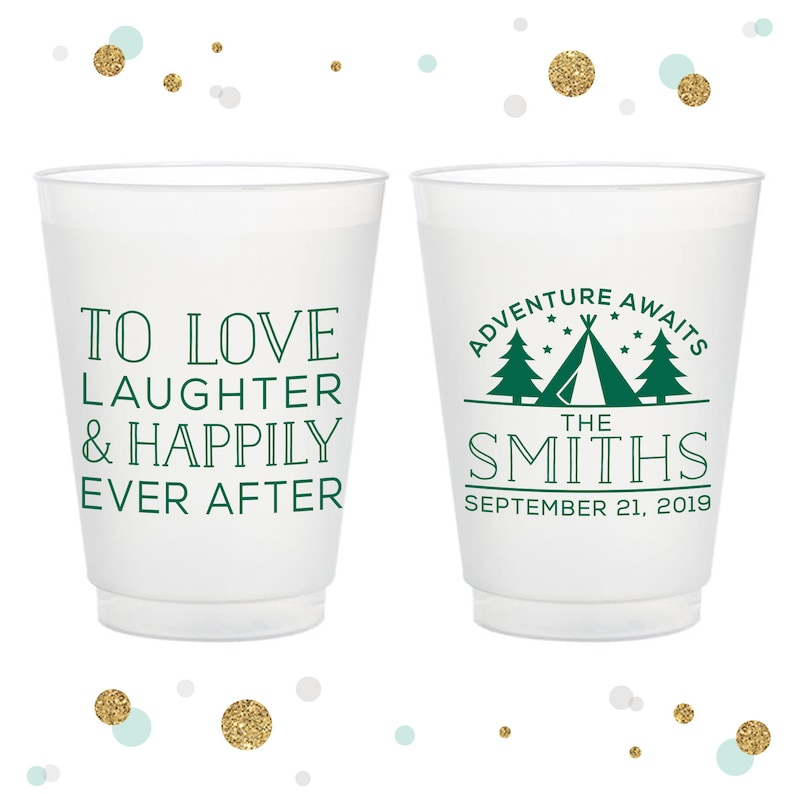 Bridal Wedding Favors Party Cups Adventure Awaits 16oz Frosted Unbreakable Plastic Cup #97 Custom Wedding Cups