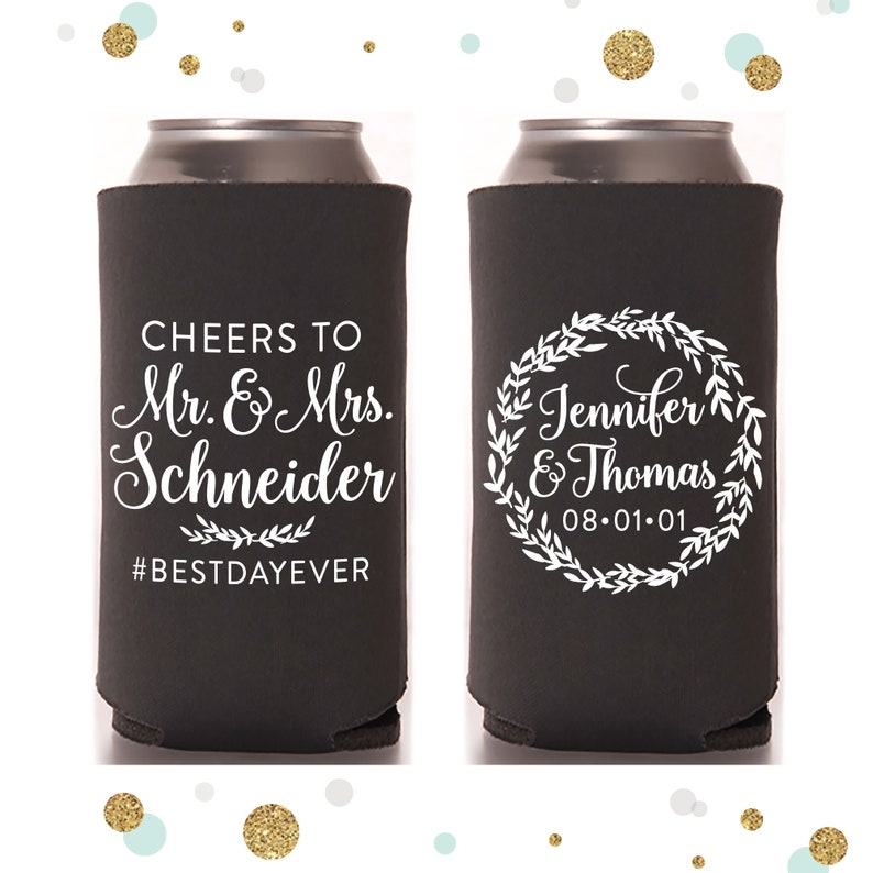 Slim 12oz Wedding Can Cooler 110S  Cheers to the Mr and Mrs image 1