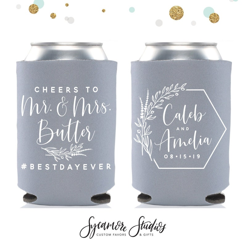 Cheers to The Mr and Mrs  Wedding Can Cooler 149R  Custom  image 1