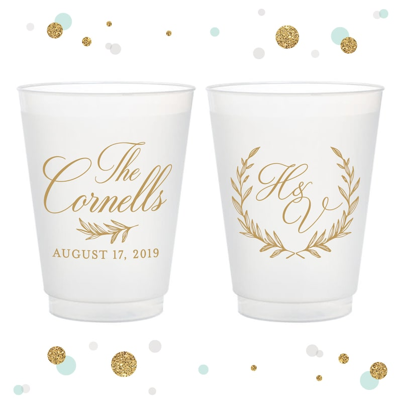 Party Cup 16oz Frosted Unbreakable Plastic Cup #108 Custom Wedding Cup Wreath Bridal Wedding Favors